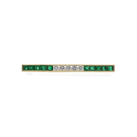 Tiffany & Co. Emerald & Diamond Bar Brooch Brooches & Pins Oliver Jewellery