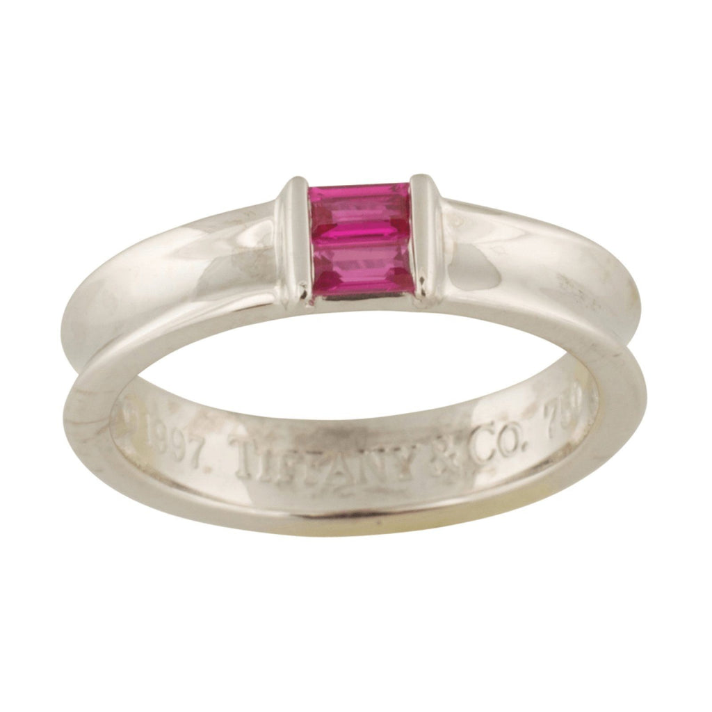 Tiffany & Co. Pink Sapphire Square Stacking Ring - Rings
