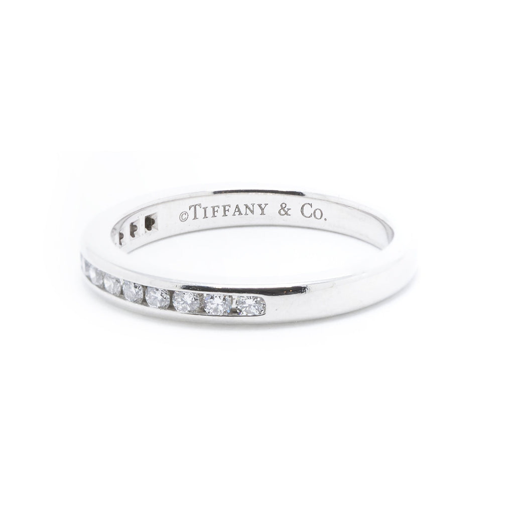 Tiffany & Co. Platinum Channel-Set Diamond Half Circle Wedding Band Ring Rings Tiffany & Co.