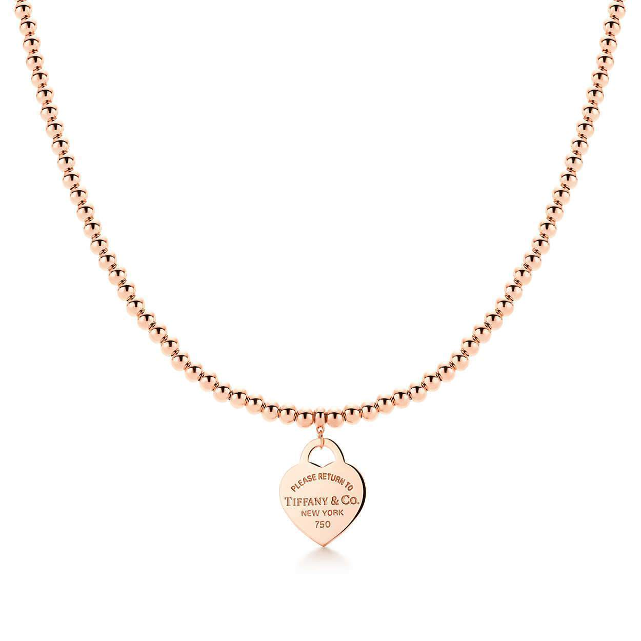 0f5c7e165 Tiffany & Co. Return To Tiffany Gold Heart Tag Pendant Bead Necklace  Necklaces Tiffany ...