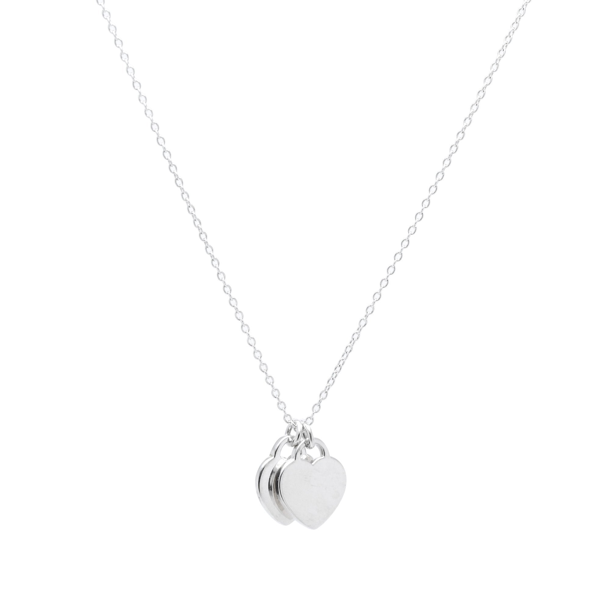 06bc0860a Return to Tiffany Mini Double Heart Tag Pendant Necklace with Blue Enamel;  Tiffany & Co.