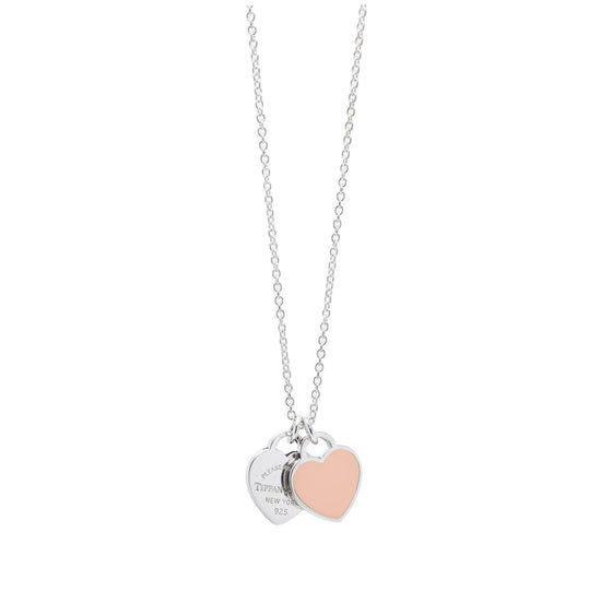 Tiffany & Co. Return to Tiffany Mini Double Heart Tag Pendant Necklace with Pink Enamel Necklaces Tiffany & Co.