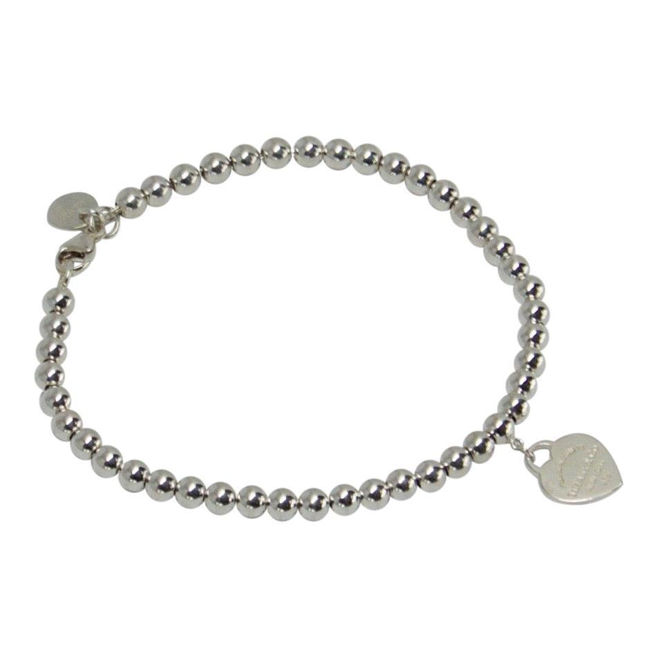 Tiffany & Co. Return to Tiffany Mini Heart Tag Bead Bracelet with Blue Enamel Bracelets Tiffany & Co.