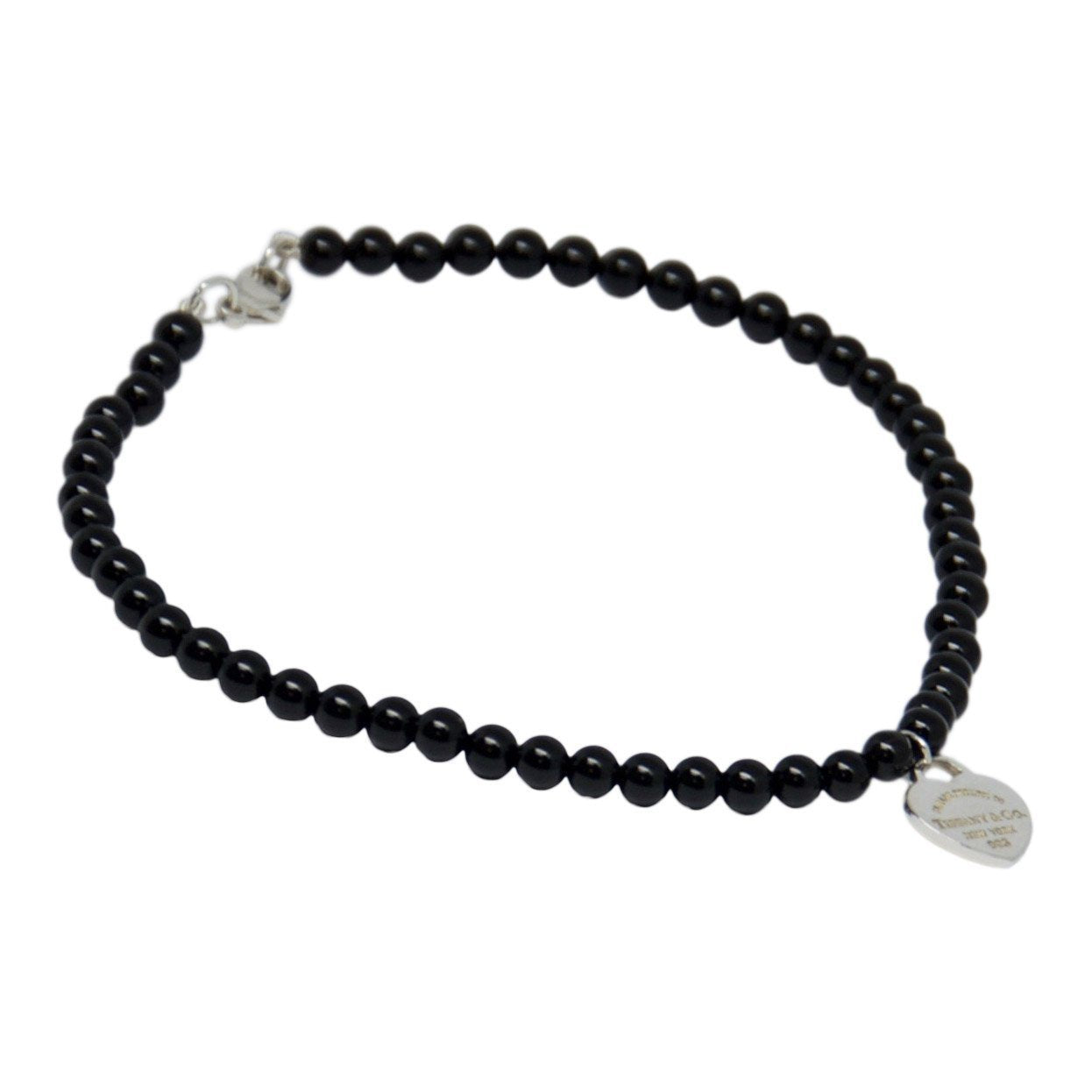 82dd45ddf91d01 Return to Tiffany Mini Heart Tag Onyx Bead Bracelet Bracelets Tiffany ...