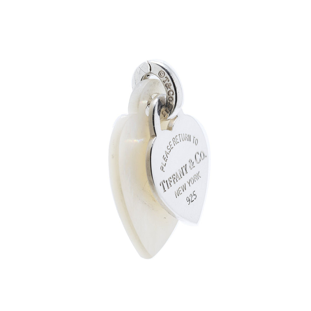 Tiffany & Co. Return to Tiffany Sterling Silver & Mother of Pearl Double Heart Tag Pendant Charms & Pendants Tiffany & Co.