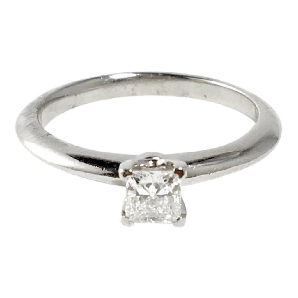 Tiffany & Co. Solitaire 0.31Ct Princess Cut Diamond Engagement Ring - Rings