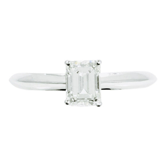 Tiffany & Co. Solitaire 0.73ct Emerald Cut Diamond Engagement Ring Rings Tiffany & Co.