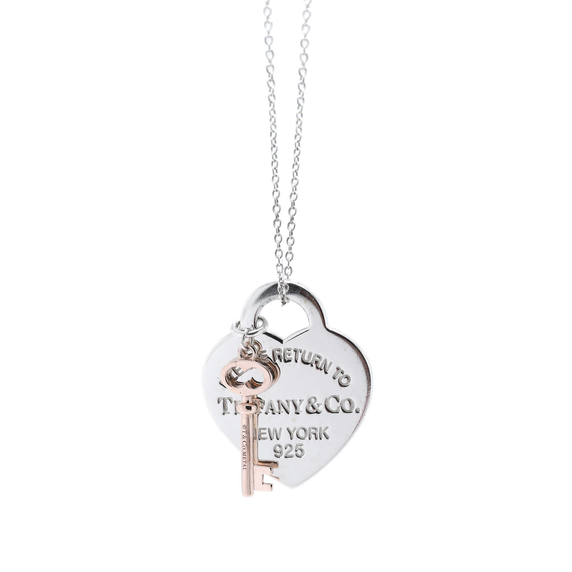 5131b6dab Tiffany & Co. Two-Tone Return to Tiffany Heart Tag and Key Pendant Necklace  ...