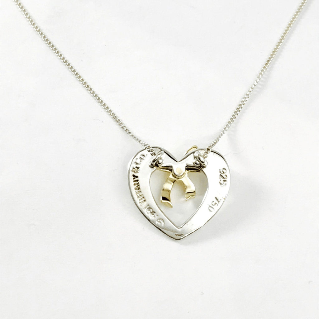 Tiffany & Co. Vintage 1991 Heart and Bow Pendant Necklace Necklaces Tiffany & Co.