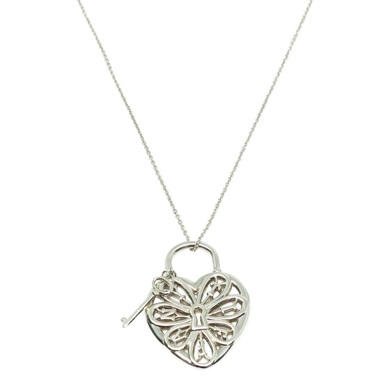 Tiffany & Co. Filigree Heart Tag with Key Pendant Necklace