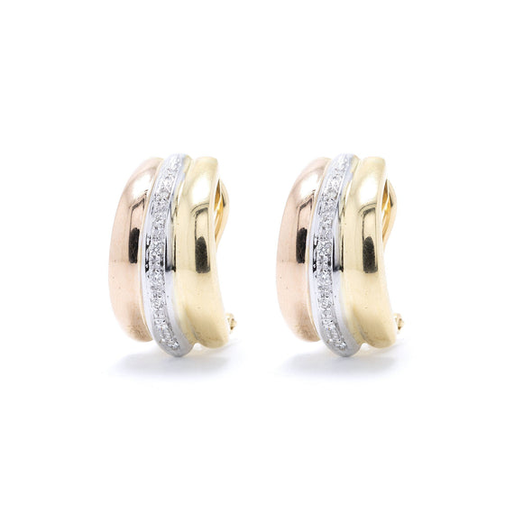 Tri-Colour Diamond Earrings Earrings Miscellaneous