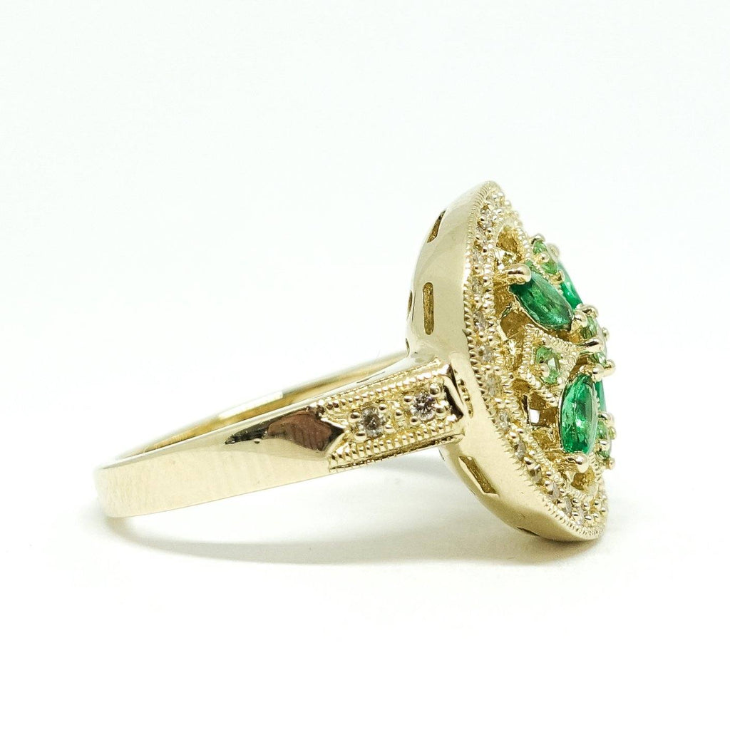Emerald And Diamond Ring - Rings