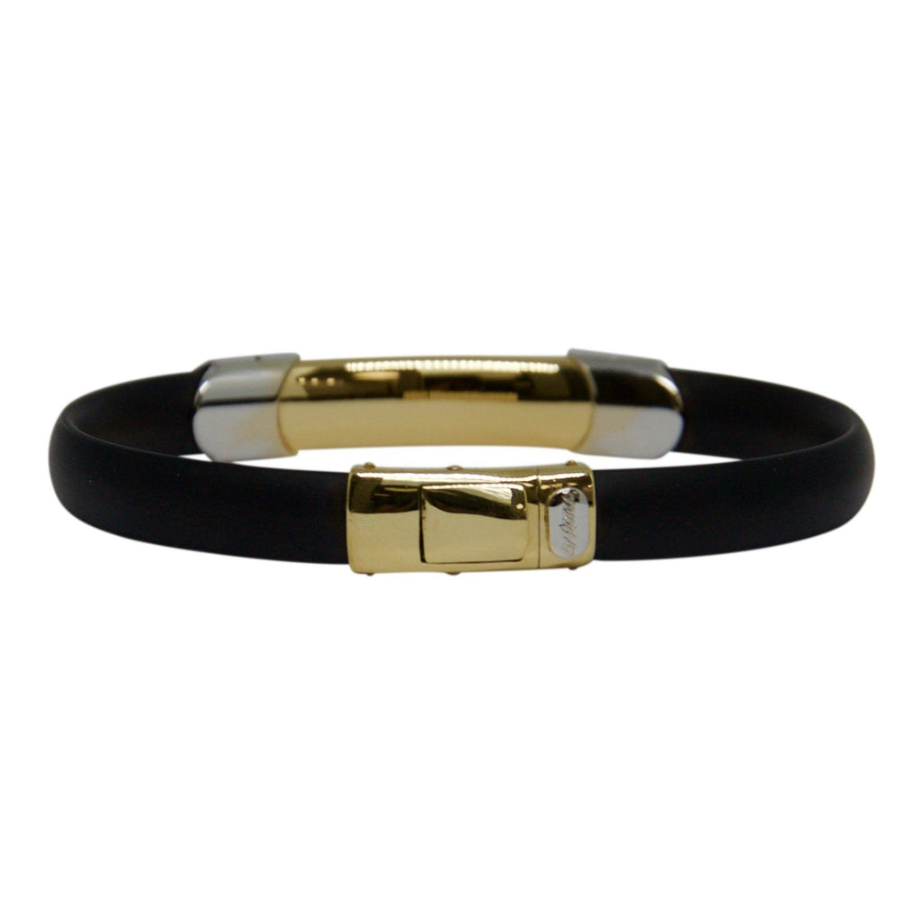 Two-Tone Gold and Rubber Bracelet Men's Jewellery Miscellaneous