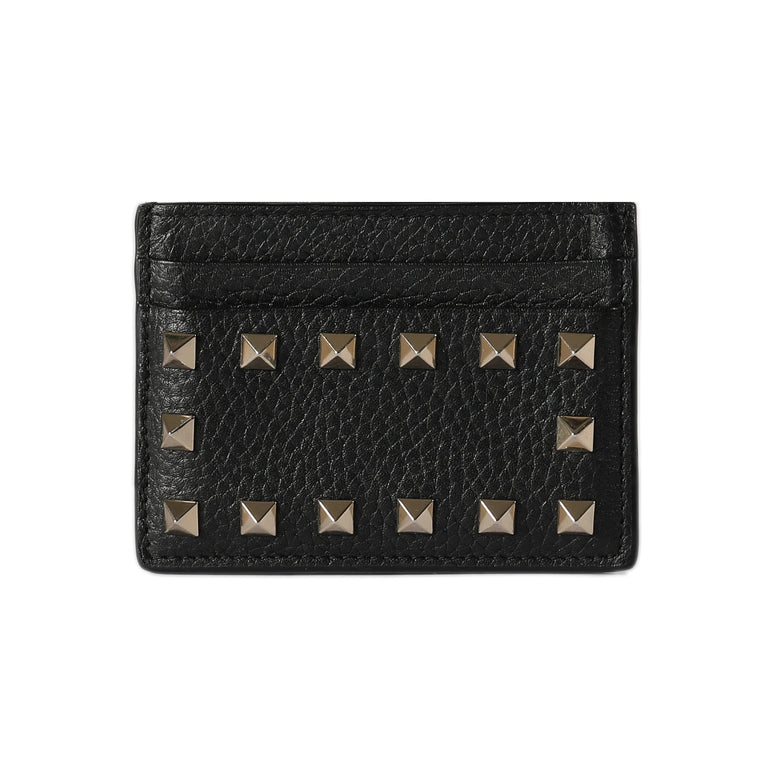 Valentino Rockstud Leather Card Holder Wallets Valentino