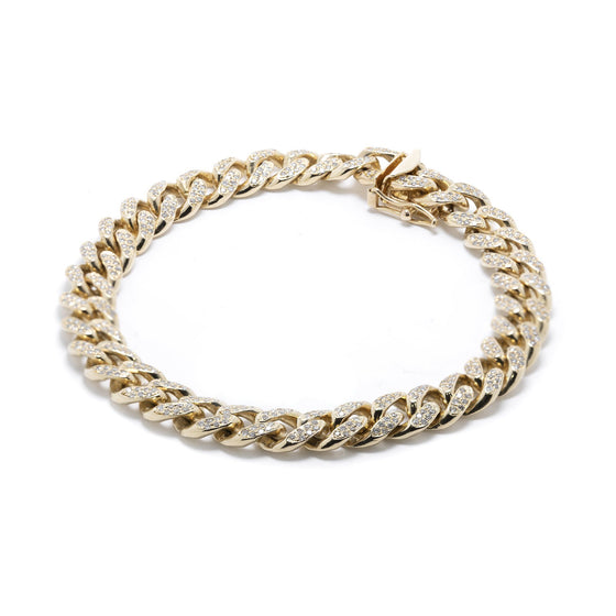 Yellow Gold Pave Diamond Link Bracelet Bracelets Miscellaneous