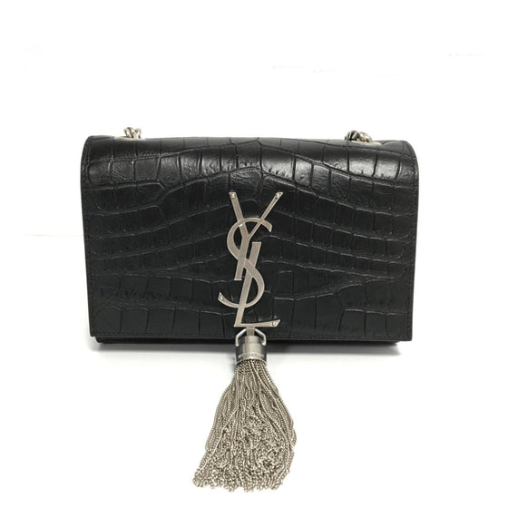 YSL Black Croc Embossed Monogram Kate Tassel Bag Bags YSL