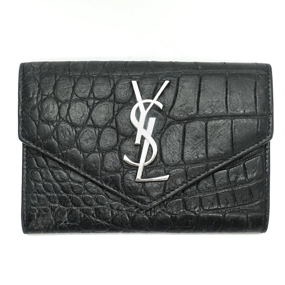 YSL Black Crocodile Embossed Small Envelope Wallet Wallets YSL