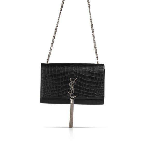 YSL Black Medium Croc Embossed Monogram Kate Tassel Bag w/ Box Bags YSL