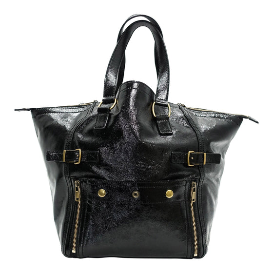 YSL Black Patent Leather Downtown Tote Bags YSL