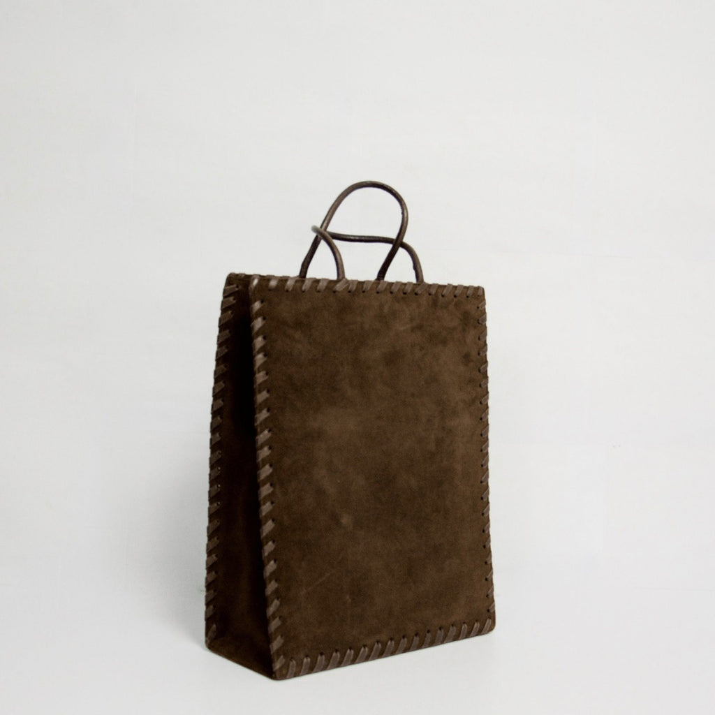 YSL Brown Vintage Suede Whipstitched Shopper Bags YSL