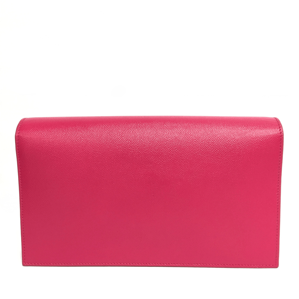 YSL Pink Classic Monogramme Leather Clutch Bags YSL