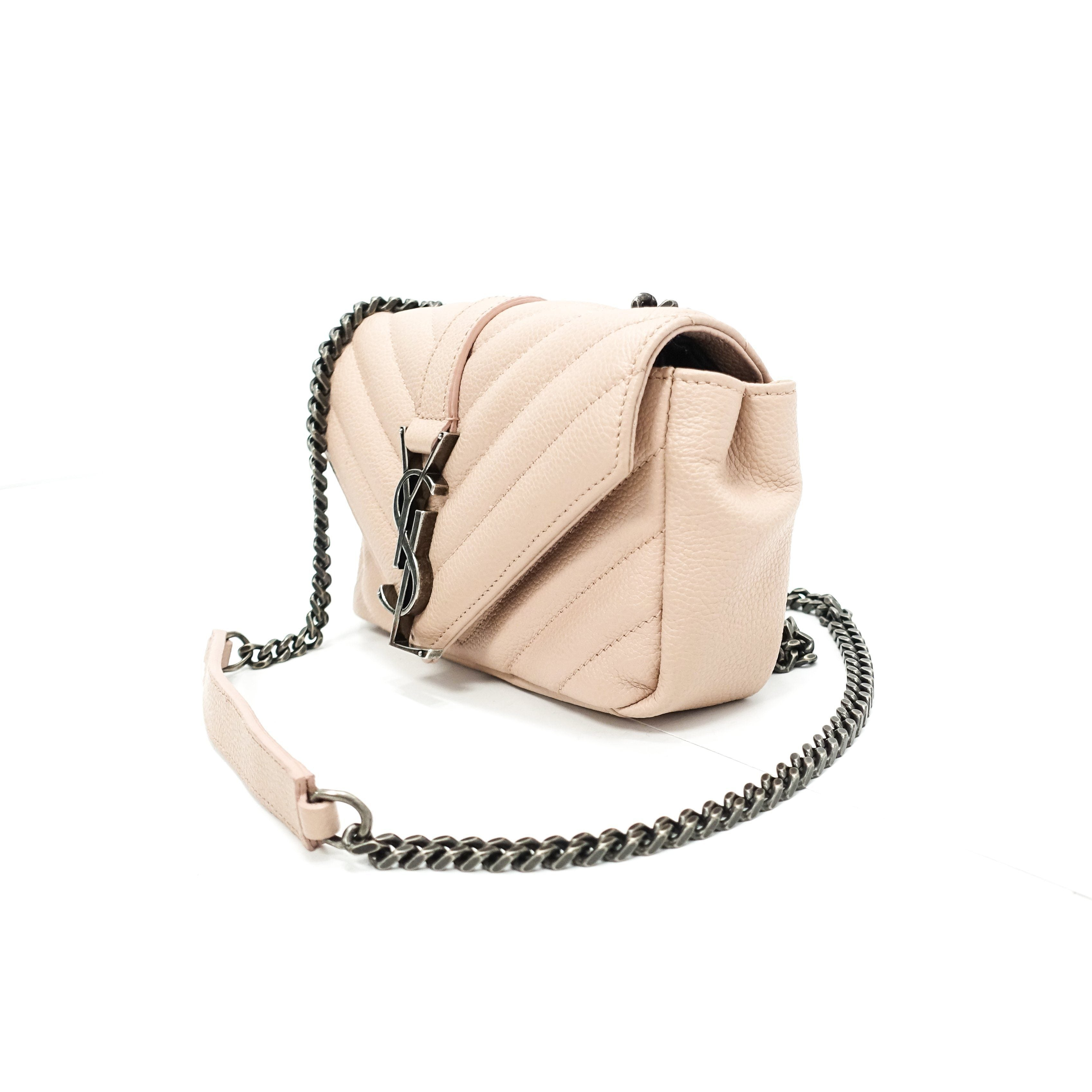 offer discounts durable in use genuine YSL Pink Wallet Baby Chain Matelasse Chevron Monogram ...
