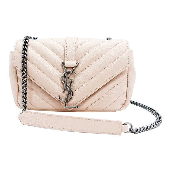 YSL Pink Wallet Baby Chain Matelasse Chevron Monogram Crossbody Bag Bags YSL
