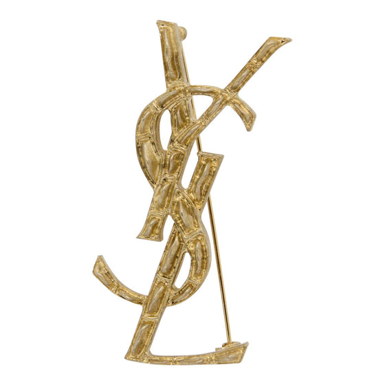 YSL Textured Croco Monogramm Brooch Brooches & Pins YSL