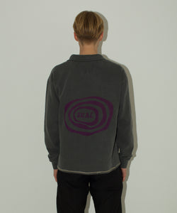 Washed Black Ripple Logo Quarter Zip