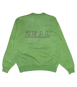 Hand Dyed Green Heavy Fleece Logo Crewneck