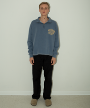 Load image into Gallery viewer, Denim Blue Ripple Logo Quarter Zip