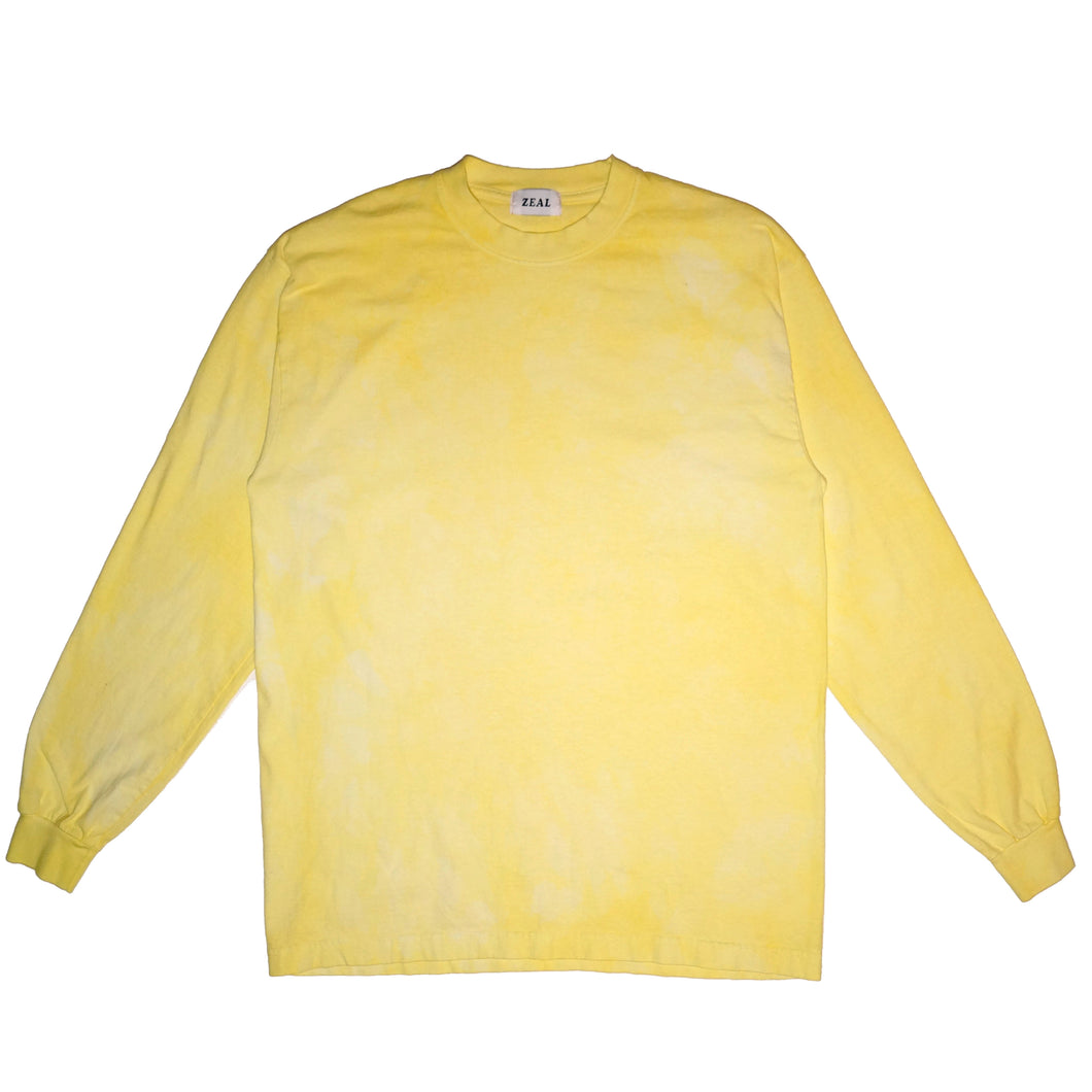 Yellow Hand Dyed Long Sleeve T-Shirt - Large