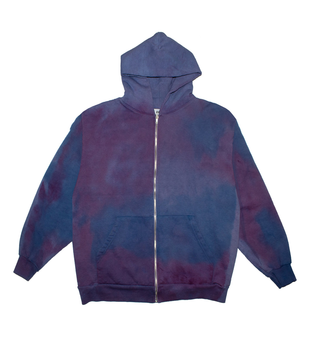 Hand Dyed Multi Color Zip-Up Hoodie - XL