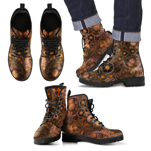 Steampunk Gear Design Men's & Women's Vegan-friendly Leather Boots