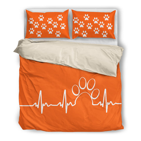 Paw heartbeat bedding duvet-orange
