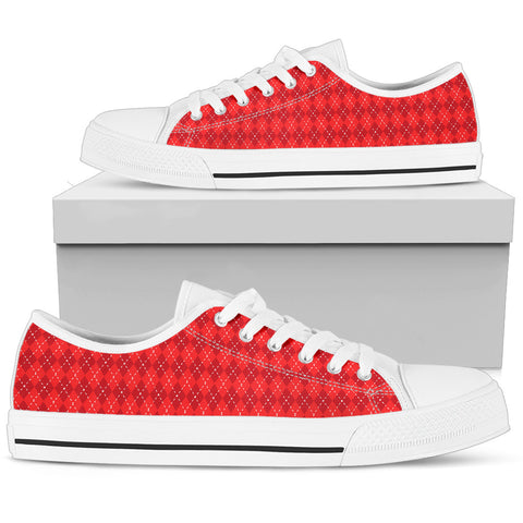 Red Argyle Womens Low Top Shoes (White)