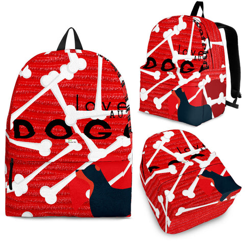 Red Love Dog Backpack