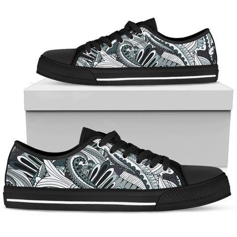 Funky Patterns in Blacks - Women's Low Top Shoes (Black)