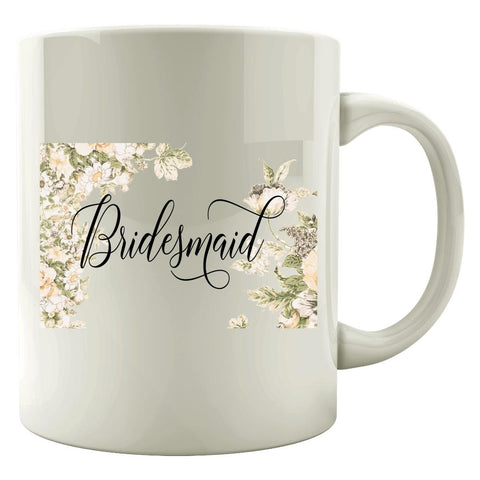 Bridesmaid - White Flowers - Mug