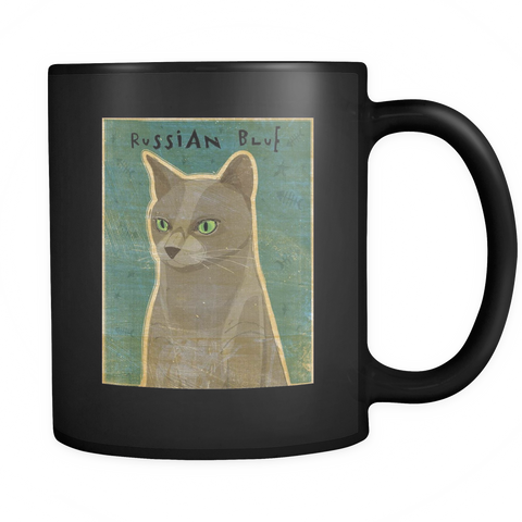 Russian Blue Cat - Black Mug - Muggalicious