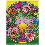Pop Art Flower Circle - Woven Throw Blankets - Muggalicious