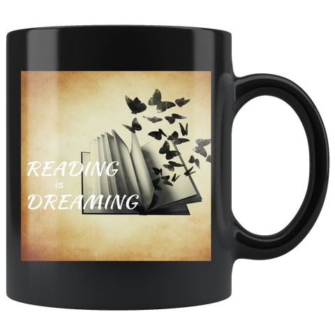 Reading is Dreaming Black Mug