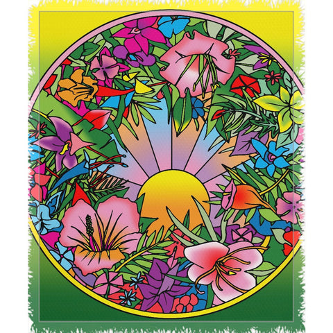 Pop Art Flower Circle - Woven Throw Blankets