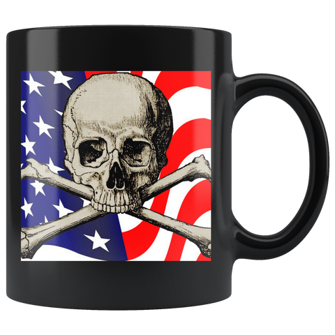 American Flag and Skull Black Mug - Muggalicious