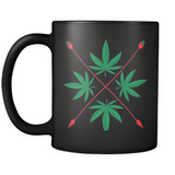 Weed Herbal Crest Design - Black Mug - Muggalicious