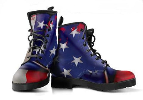 American Flag Vegan Friendly Leather Boots - Muggalicious