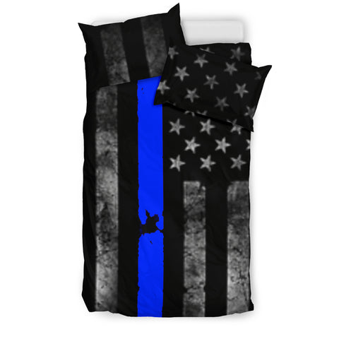 Thin Blue Line Police Support Duvet and Pillow Cover Set