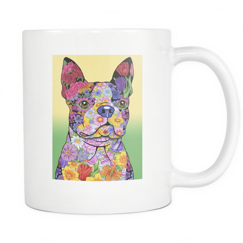 Flowered Boston Terrier - White Mug - Muggalicious
