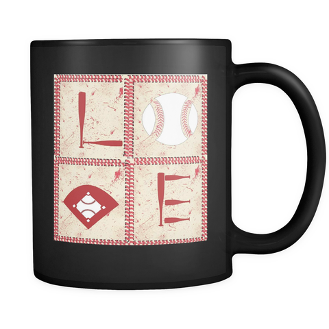 LOVE Baseball Black Mug - Muggalicious