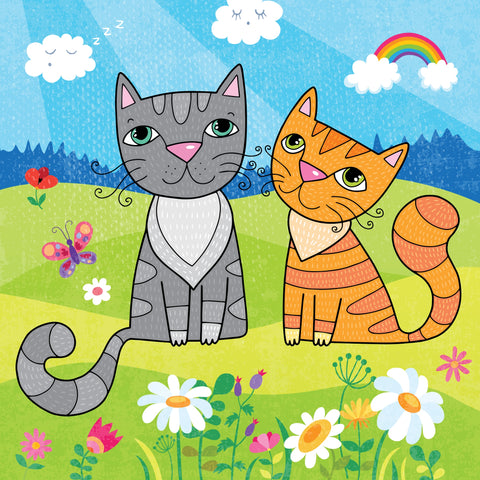 The Purrrfect Cat Couple Love Portrait - Wall Art Canvas